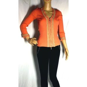 Cache' coral rubbed top w zipper & gold embellish